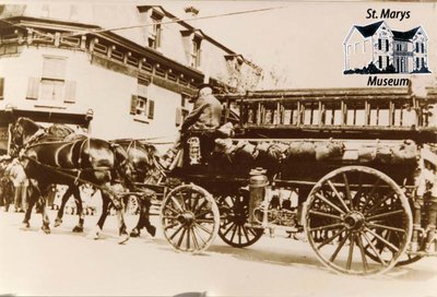 Horse-Drawn Fire Department Ladder Wagon