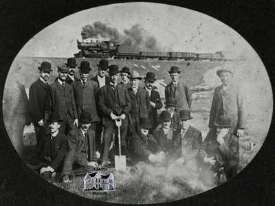 Turning of the first sod for the St. Marys and Western Ontario Railway - May 14, 1907