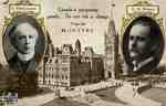 Election campaign postcard showing Sir Wilfrid Laurier, G.H. McIntyre and the Parliament Buildings in Ottawa, 1908
