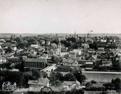 View of down town as seen from Presbyterian spire, ca. 1910