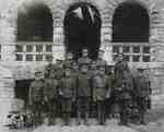 World War I uniformed soldiers in front of the Town Hall