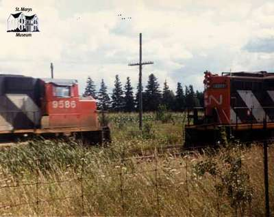 Two freight trains near the St. Marys Junction