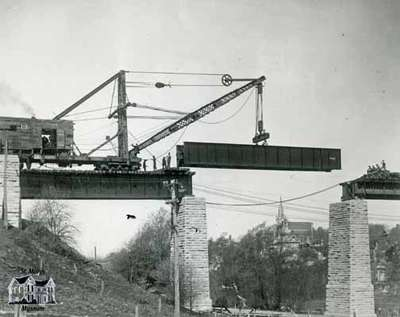 Replacing girders on railway trestle over Trout Creek on London Bridge, 1912