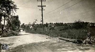 Fallen trees, hydro poles and other damage, 1933