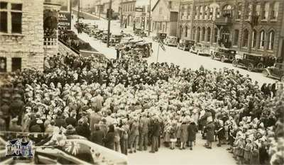 Celebration of King George V Silver Jubilee outside the St. Marys Town Hall, 1935.