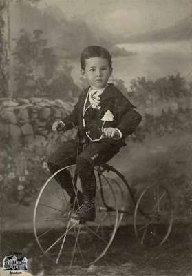 Small boy on bicycle