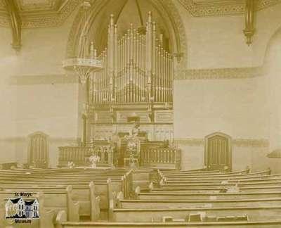 Interior of the First Presbyterian Church ca. 1900