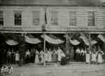 Beattie's storefront and staff during Old Boy's Reunion - July 19, 1899