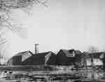 Town barns at confluence of Trout Creek and the Thames River, ca. 1950