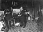 Artist William Greason in his St. Marys studio, 1907