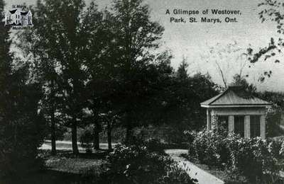 Garden and summer house at Westover Park, ca. 1907