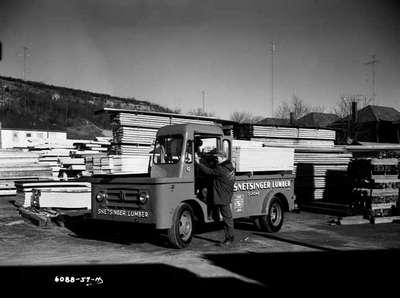 A special bodied IHC truck belonging to the Snetsinger Lumber Yard, Dundas, Ontario.