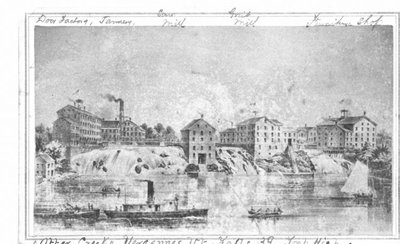 A townscape identified as Otter Creek, Vergenes, VT.