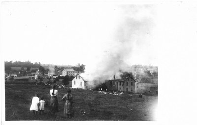 1915 fire at the Salem Tanning Company, Salem, Ontario.