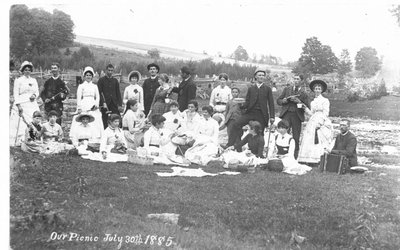 Portrait of an unidentified group of people on a picnic, July 30th, 1885.