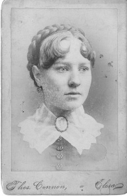 Portrait of a young woman, identified as Sally Hepburn.