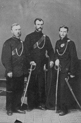 Group portrait of 3 men in uniform.