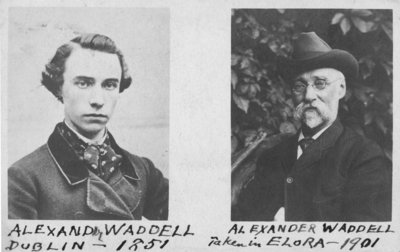 Two portraits of Alexander Waddell, one taken in Dublin, 1851, the other in Elora, 1901.