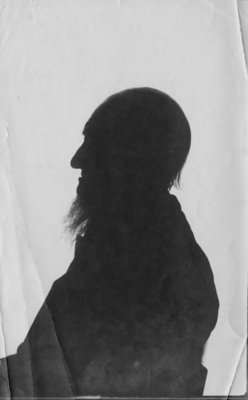 Silhouette portrait of Simon Fraser, in profile.