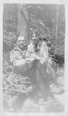 Don Archibald and his sister Kay Archibald Marston seated on rocks, Elora, Ontario, May 1927.