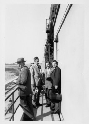People on the observation platform of the Shand Dam, Fergus, Ontario.