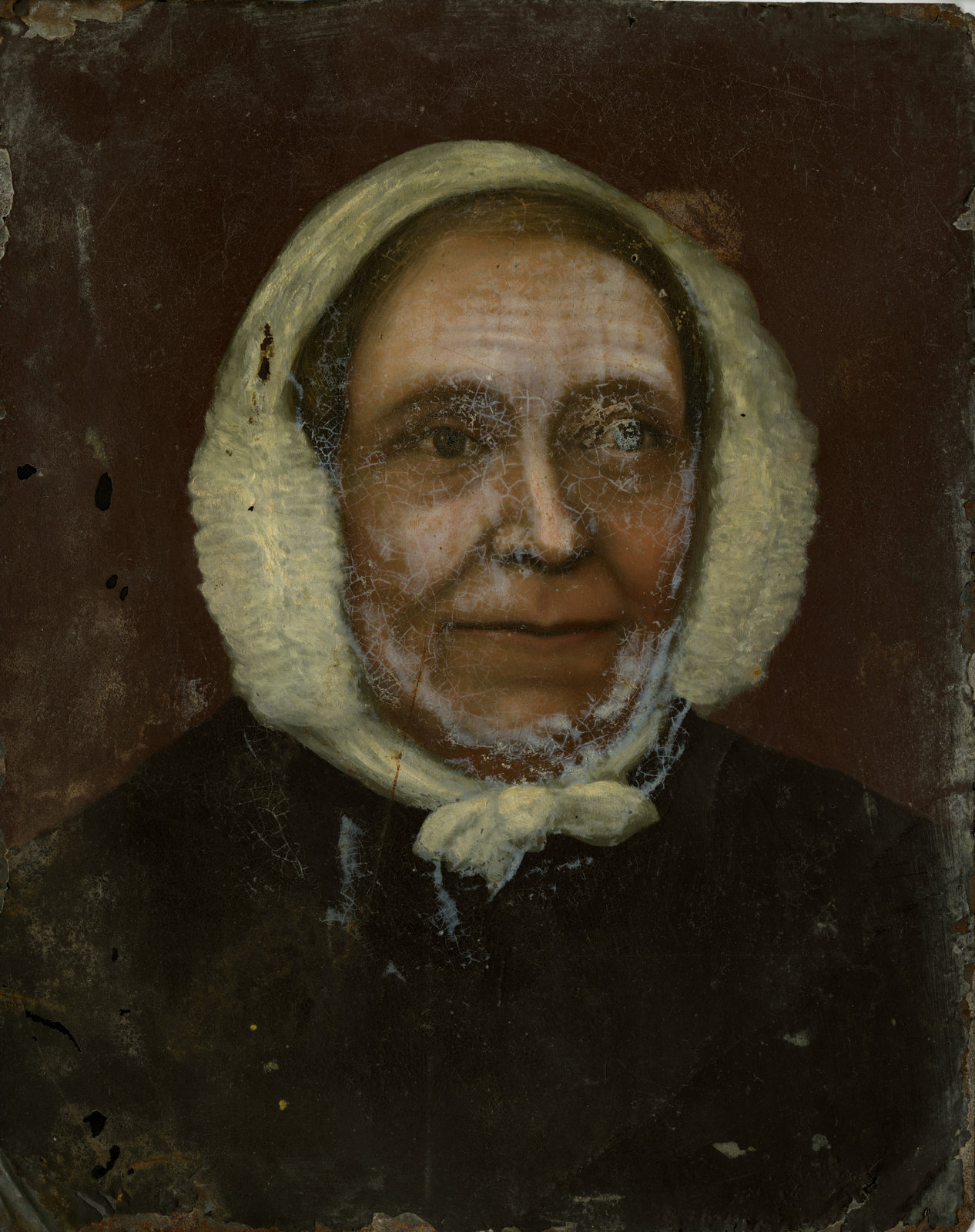 Bust portrait of unidentified woman wearing a dark bodice and white house-bonnet.