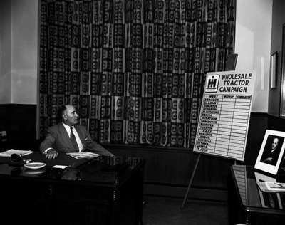 R.B. Bradley, President of IHC Canada (from the mid-1950's to about 1960), in his office