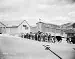 Labourers Lined Up Outside of a Bank, Forestville, QC