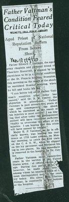 Father Vattman's [Vattmann] Condition Feared Critical Today