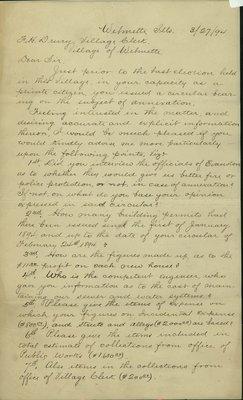 Letter Written by E. A. Burge, Wilmette, Illinois, to F. H. Drury, Wilmette Village Clerk, March 27, 1894