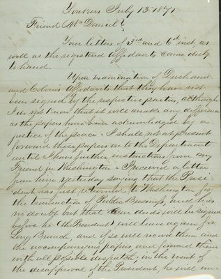 Letter from Henry A. Dingee, Yonkers, New York to Alexander McDaniel, Wilmette, Illinois, dated July 13, 1871