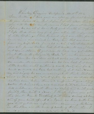 Letter from George Huntoon, Whiskey Diggins, California, to his brother, dated November 18, 1852.