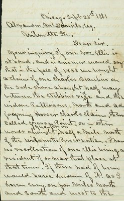 Letter written by E. M. Dennis, Chicago, Illinois, to Alexander McDaniel, Wilmette, Illinois, on September 28, 1881.