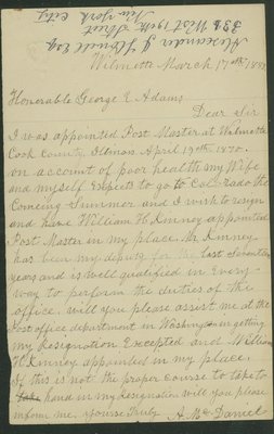 Letter written by Alexander McDaniel, Wilmette, Illinois, to George E. Adams on March 17, 1889