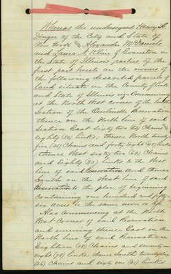 Legal agreement for development of land in Wilmette dated March 2, 1868