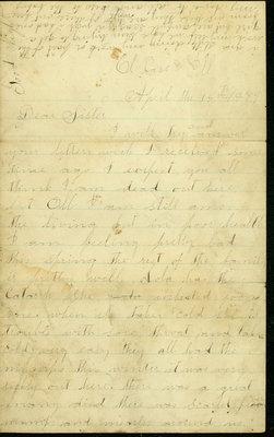 Letter written by Elizabeth Statler Gross in El Paso, Illinois, to her sister on April 15, 1889