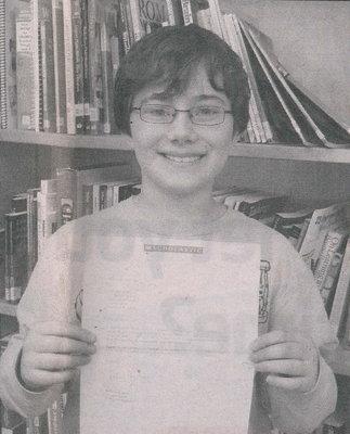 Avoca West Elementary School: Student won writing contest