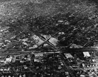 Aerial view downtown Wilmette, 1924 looking east. The X streets are the intersection of Central and Wilmette Aves.