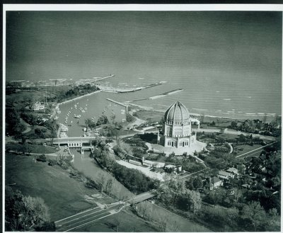 Aerial photograph of the Bahai House of Worship in Wilmette