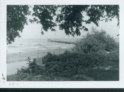 Photograph of a pier at Wilmette beach about 1960