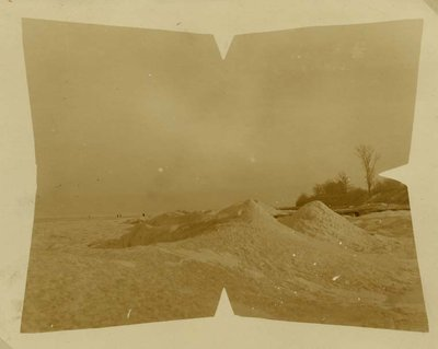 Piles of snow on the Wilmette beach about 1918
