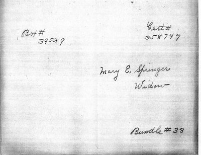 Pension application for Mary E. Springer, widow of Civil War soldier Milton Cushing Springer