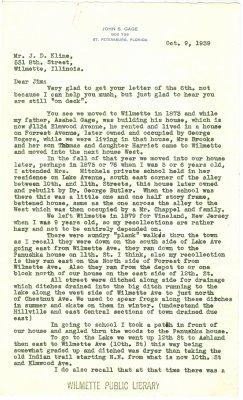 Letter from John S. Gage to J. D. Kline