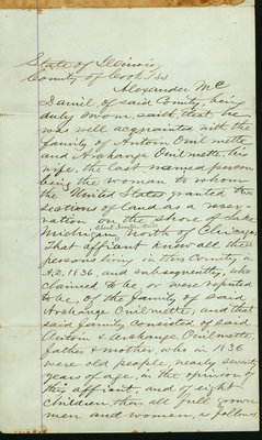 Affidavit by Alexander McDaniel, Wilmette, Illinois, July 5, 1871