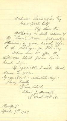 Letter from Alexander J. Howell to Andrew Carnegie, 9 April 1903