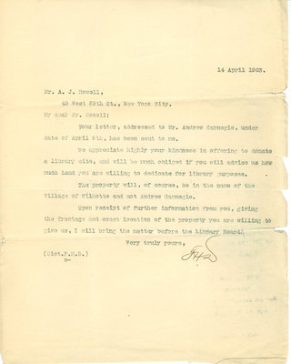 Letter from F. H. Drury to A. [Alexander] J. Howell, 14 April 1903