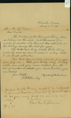 Letter from N. W. Gates, Wilmette, Illinois, March 30, 1895, to Mr. and Mrs. L. J. Pierson, and their reply April 9, 1896