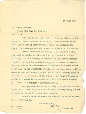 Letter from Francis H. Drury to Andrew Carnegie, 17 April 1903