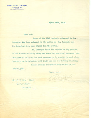 Letter from R. A. Franks to F. W. [Francis H.] Drury, 28 April 1903