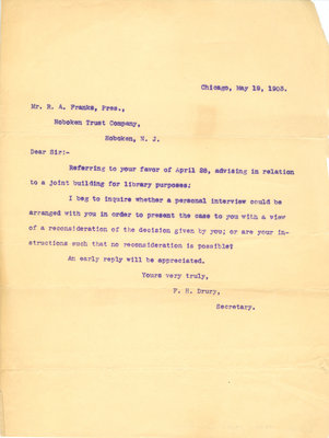 Letter from F. H, Drury to R. A. Franks 19 May 1903